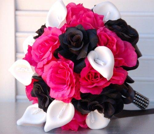 Large Bouquet Boutonniere Open Roses Hot Pink Black Silver Black Wedding Bridal   eBay