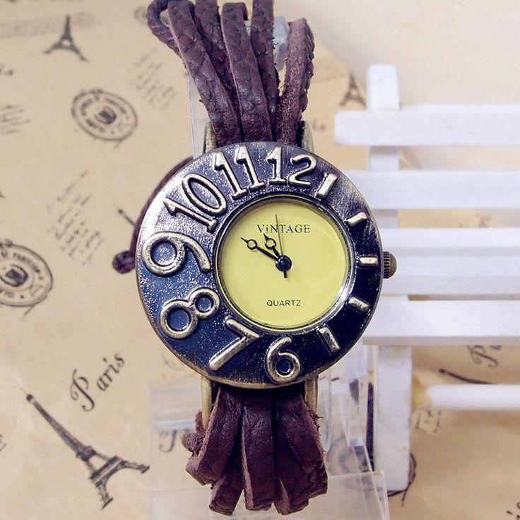 Самые Продаваемые Винтаж weave Плетеный Шнур Кожаный смотреть Женщины Женщины платье Кварцевые Наручные Часы kow056