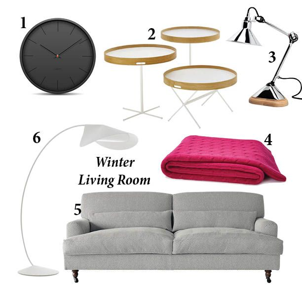 MONDAY MIX: Winter Living Room. 1. Leff Amsterdam Tone wall clock in black 2. Chab table by Nendo for De Padova 3. Lampe Gras No.207 table lamp with chrome shade 4. Mohair throw in Fuchsia 5. Raffles sofa by Vico Magistretti for De Padova 6. Circle lamp by Monica Förster for De Padova. Contact info1@generationdesign.co.za for more information.