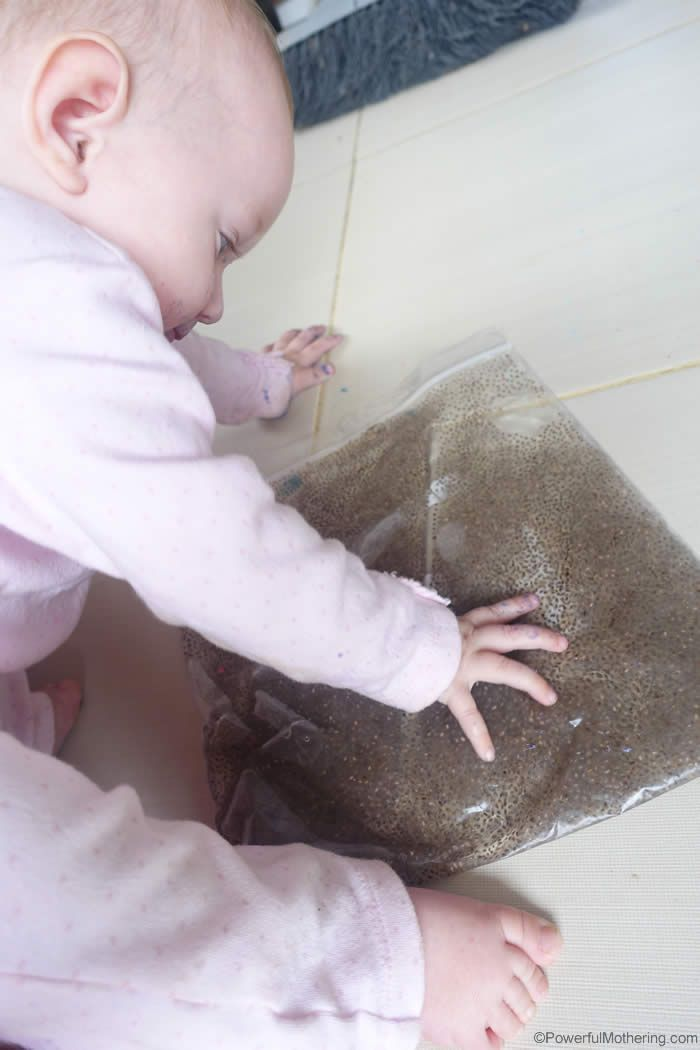 My children love to explore things! I made this super easy Chia pocket / sensory bag for my 12 month old and my 6 year old totally loved it too! To make the chia sensory bag you will need: 2 tablespoons of chia 2 cups of water a gallon ziplock bag duct tape (optional) Open …