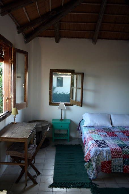 Apartment in José Ignacio, Uruguay. It's a room with a shaded terrace, cleaning room included in the price, and clean towels and sheets.  It's equipped with air conditioner, wi-fi, a small fridge, electric jug, toaster, microwave, little set of crockery, tender and comfortable blank...