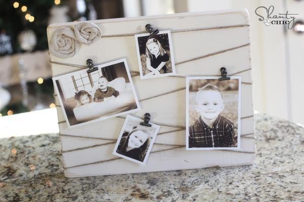 Geschenke zum Muttertag selber basteln idee memoboard familienfotos