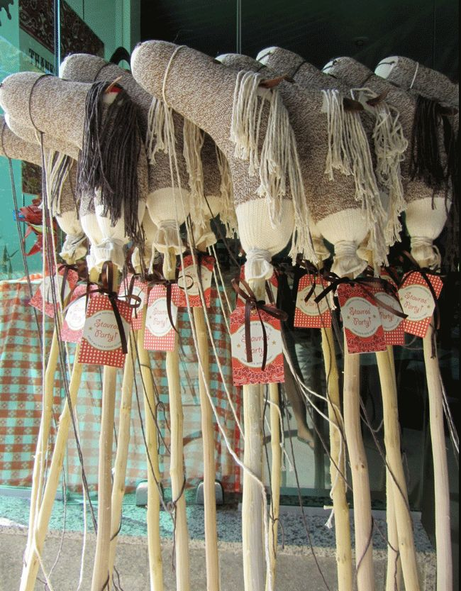 Stick horses as party favors