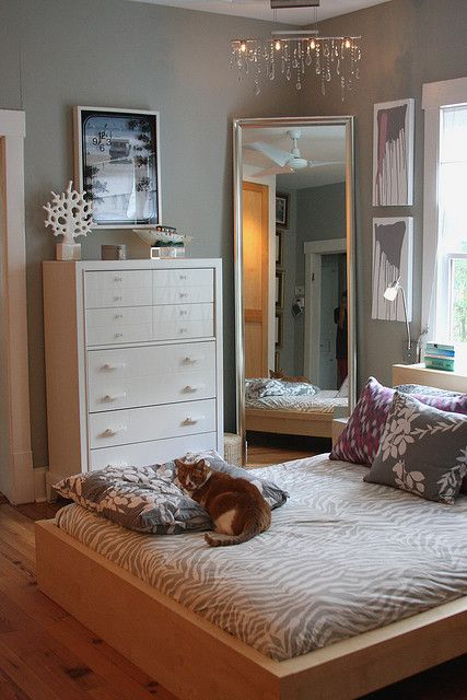 The large mirror could also work in your corner  This one has grey walls  and white trims and furniture  you could soften the look by using cream. 17 Best ideas about Small Bedroom Layouts on Pinterest   Bedroom