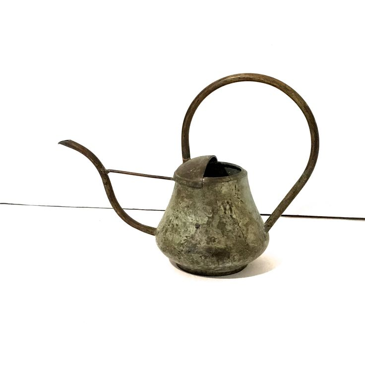 $29...Vintage Copper Watering Can Verdigris Small Watering Can Antique Copper Watering Can Indoor Watering Can Curvy Handle & Spout Bluish Tint by LastTangoVintage on Etsy
