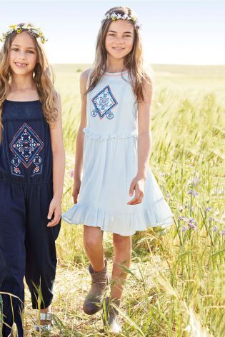 Blue Aztec Embroidered Floaty Dress (3-16yrs)