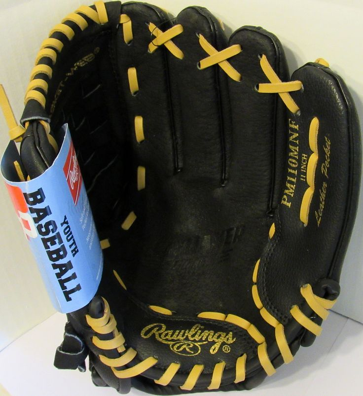 Rawlings Playmaker Series 11-Inch Youth Baseball Glove Mitts Infield/Outfield, Right-Hand Throw (PM110MNF). Soft and Flexible All Leather Pocket for Easy Close. Pro Performance Designed. Leather Pocket, Basket Web, Right-Handed Throw (Glove Worn on Left Hand). Conventional Back With Custom Fit Velcro Strap to Ensure a Good Fit. Rawlings Playmaker Series 11-Inch Youth Baseball Glove Mitts (PM110MNF).