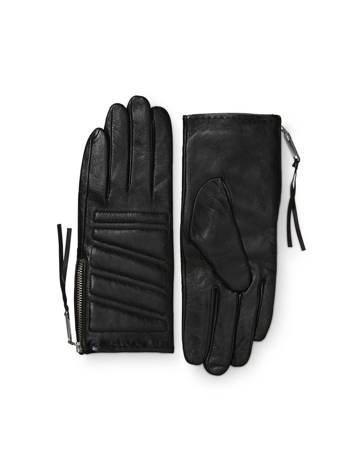 Vasarely gloves - Women's biker-inspired glove in leather nappa. Features side zip fastening and padded details with decorative stitching. Fully lined.