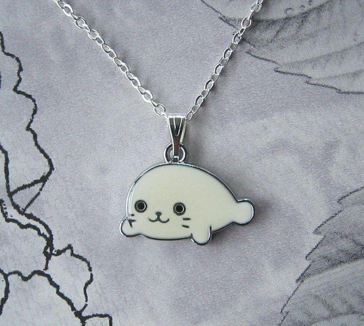 "Seal Pendant Necklace Enamel Silver Plated Chain 18"" Girls Kids Teen Gift Cute | eBay"