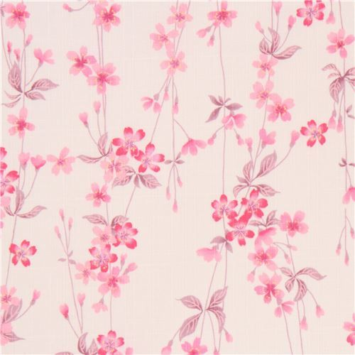 light cream structured pink cherry blossom flower leaf dobby fabric from Japan 1