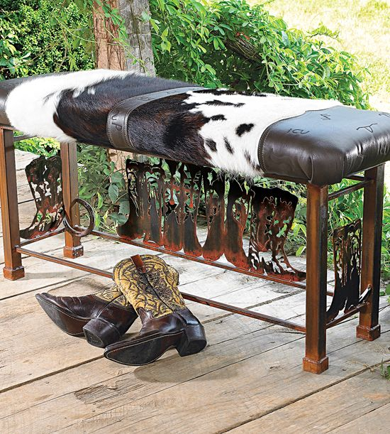 Boot Bench with Cowhide | Western Decor This would look great in the bedroom
