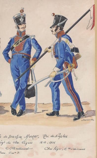 2e Armée de Joachim Murat, roi de Naples 4e régiment de chevaux-légers 1814-1815 sous-lieutenant chevau-léger, compagnies ordinaires