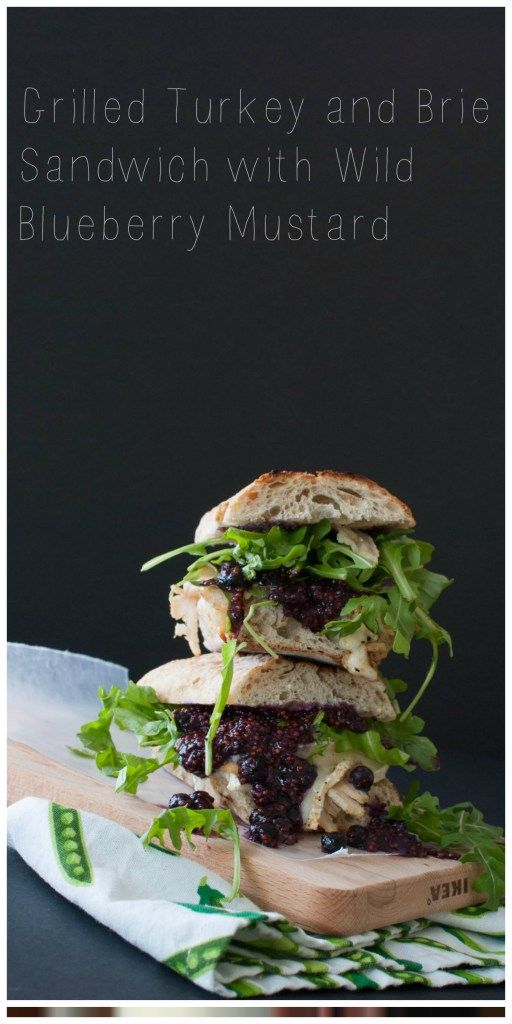 Grilled Turkey and Brie Sandwich with Wild Blueberry Mustard | www.nourishnutritionblog.com | #ad Throw all of your favorite Thanksgiving leftovers onto bread and top it with the most delicious and antioxidant-filled wild blueberry mustard