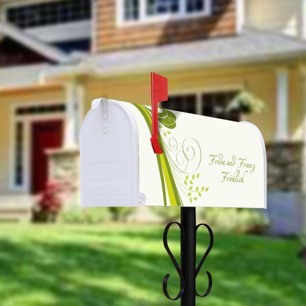 US Mailbox Standfuß Schwarz mit Motiv Green Swirl von banjado via dawanda.com
