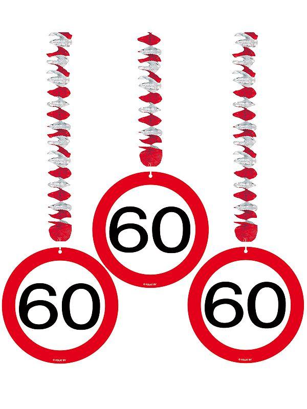 Rotorspiralen 60 jaar verkeersborden 3 stuks. Feestelijke decoratie voor een 60e verjaardag of jubileum. U ontvangt drie stuks van deze stopbord rotorspiralen.