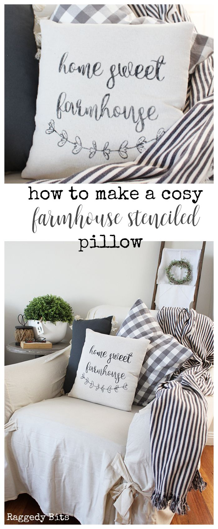 Using some drop cloth and a stencil sharing how to make a Cosy Farmhouse Stenciled Pillow   www.raggedy-bits.com   #farmhouse #diy #dropcloth #sewing #cosy #pillow #cushion