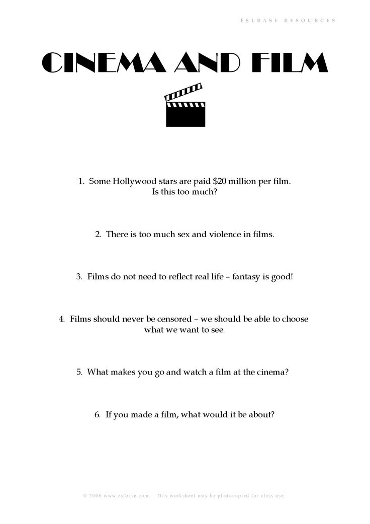 conversation cinema and film english movie night pinterest cinema film and worksheets. Black Bedroom Furniture Sets. Home Design Ideas