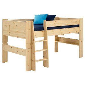 Steens Pine Mid Sleeper Raised Childrens Single Bed Frame Kids High Bed