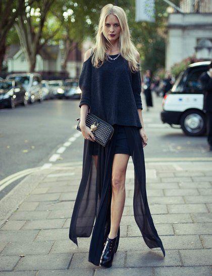 Poppy Delevingne wearing Sass & Bide skirt, Zoe Jordan Jumper, D-Squared boots, Burberry Prorsum clutch, Dominic Jones jewellery