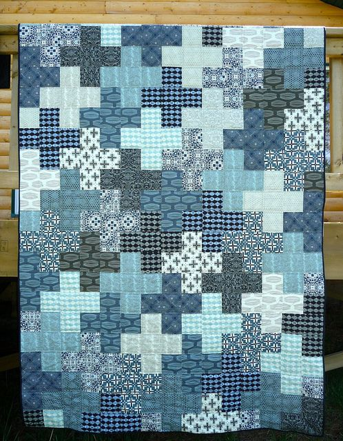 Curious Nature Crosses: Water by CoraQuilts ~ MrsCarla, via Flickr  I love plus quilts.   Tutorial at :  In color order.