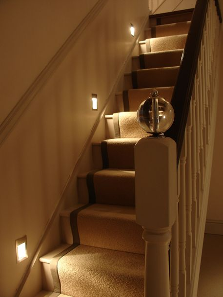 This staircase is lit by the Akari stair light, which shows how the wide spread of light from the fitting makes it very effective, even being placed every 4th step.