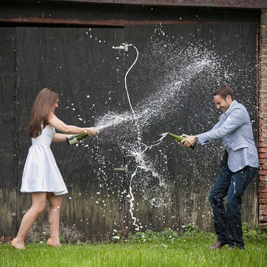 Justine & Chris ended their engagement session at Historic Smithville park with a champagne fight!
