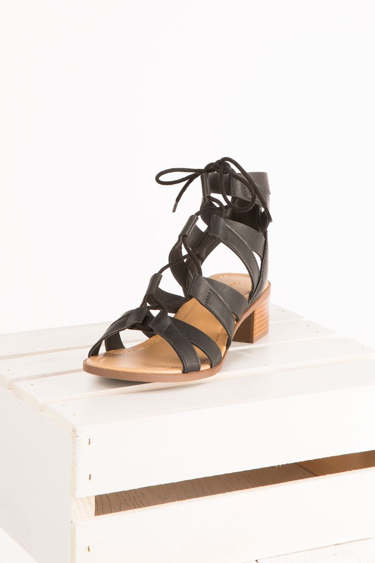 Girls Gladiator Lace Up Black Heel