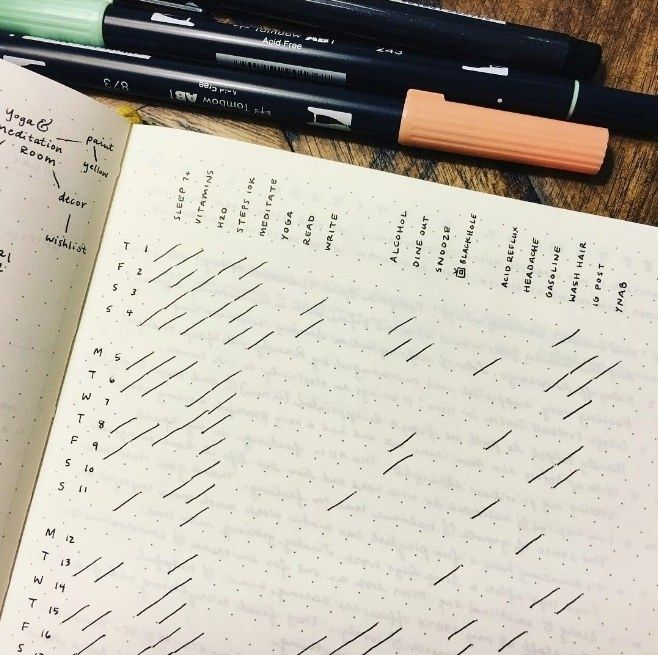 This clean and bright monthly habit tracker:
