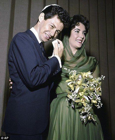 Elizabeth Taylor to Eddie Fischer:  May 12, 1959 in Las Vegas.  Green silk hooded dress.