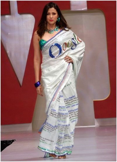 "Satya Paul's ""Google"" themed saree."