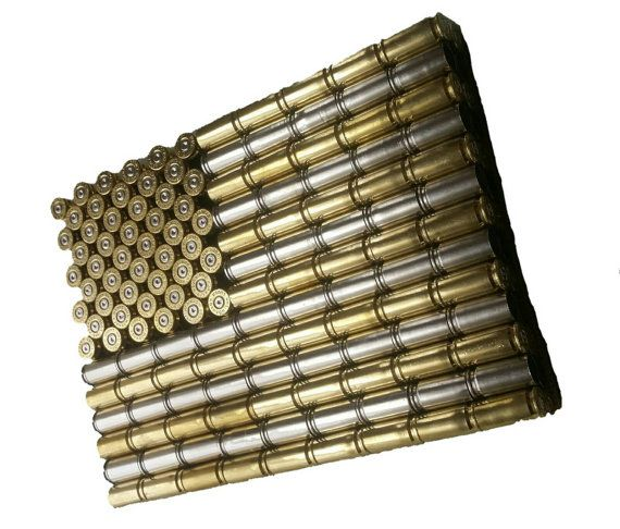 Bullet Casing USA Flag Wall Hanging Art - American Flag made from recycled brass and nickel - Metal Flag