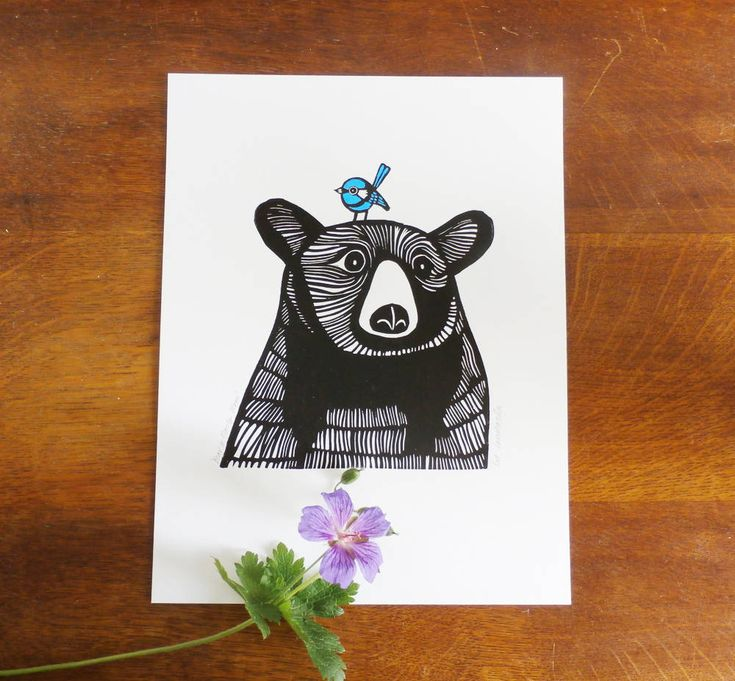 Bear and Fairy Wren, by Kat Lendacka, Original Linocut Print, Open Signed Edition, Free Postage in UK, Hand Pulled, Printmaking, handprinted by KatLendacka on Etsy