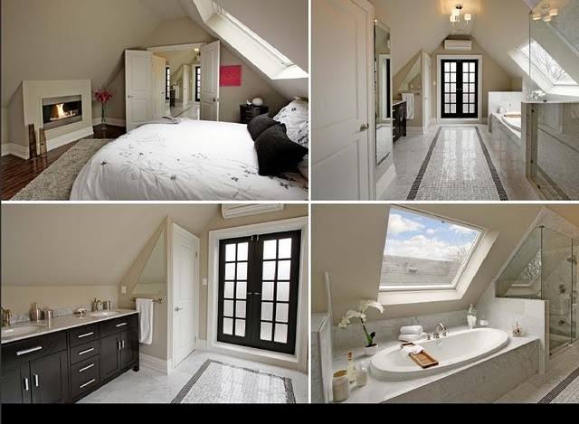 Love these attic bedroom & bathroom ideas.