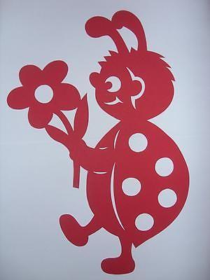 Fensterbild Tonkarton  Marienkäfer mit Blume  rot  filigran  34 cm