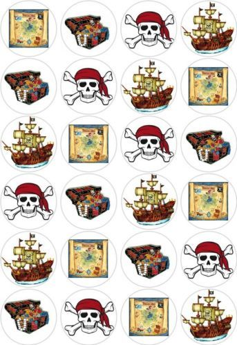 24 Pirate Party Cupcake Fairy Cake Toppers Edible Decorations Wafer Rice Paper | eBay