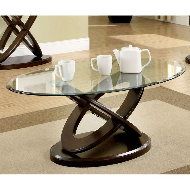 Furniture Of America Evalline Oval Glass Top Coffee Table   Overstock  Shopping   Great Deals On