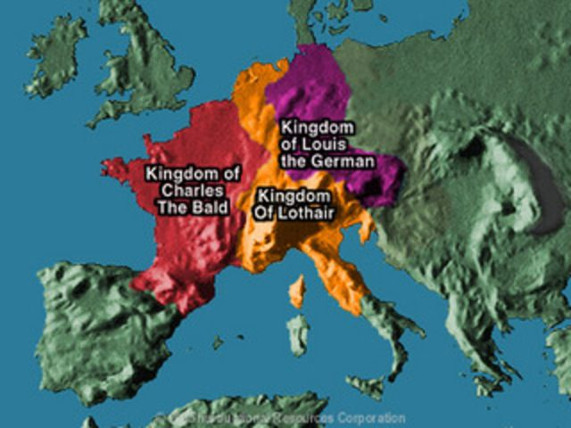 The Treaty of Verdun, signed in August 843, was the first of the treaties that divided the Carolingian Empire into three kingdoms among the three surviving sons of Louis the Pious, who was the son of Charlemagne. The three sons of Louis the Pious reach an agreement known as the Treaty of Verdun and split the Carolingian empire into three divisions; East Francia was given to Louis the German, West Francia to Charles the Bald and Middle Francia to Lothair I.
