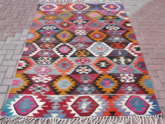 VINTAGE Turkish Area Kilim Rug Carpet Handwoven by TurkishKilimRug