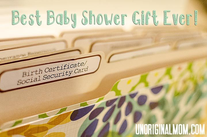 Best Baby Shower Gift Ever - a folder to organize all the important papers that come with having a baby!  smart idea!