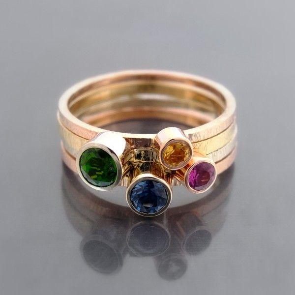 Wyjątkowy komplet złotych pierścionków BIZOE kamienie: cytryn szafir diopsyd chromowy rodolit - granat