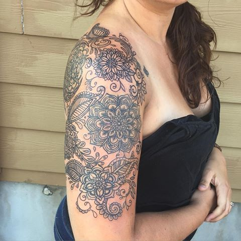 mandala upper arm tattoo | Mandala Flower With Paisley Pattern Tattoo On Right Half Sleeve