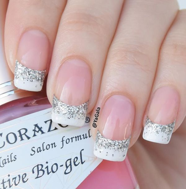 Simple but beautiful French tip. Coated in white, add more attitude to your French tips by putting silver glitter polish on the ends of the tips to give it a more vibrant feel.