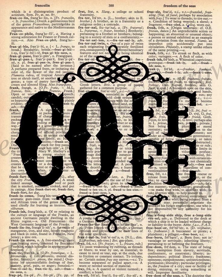 coffee decor | Vintage Dictionary Coffee Decor Print plus by TheSalvagedSparrow