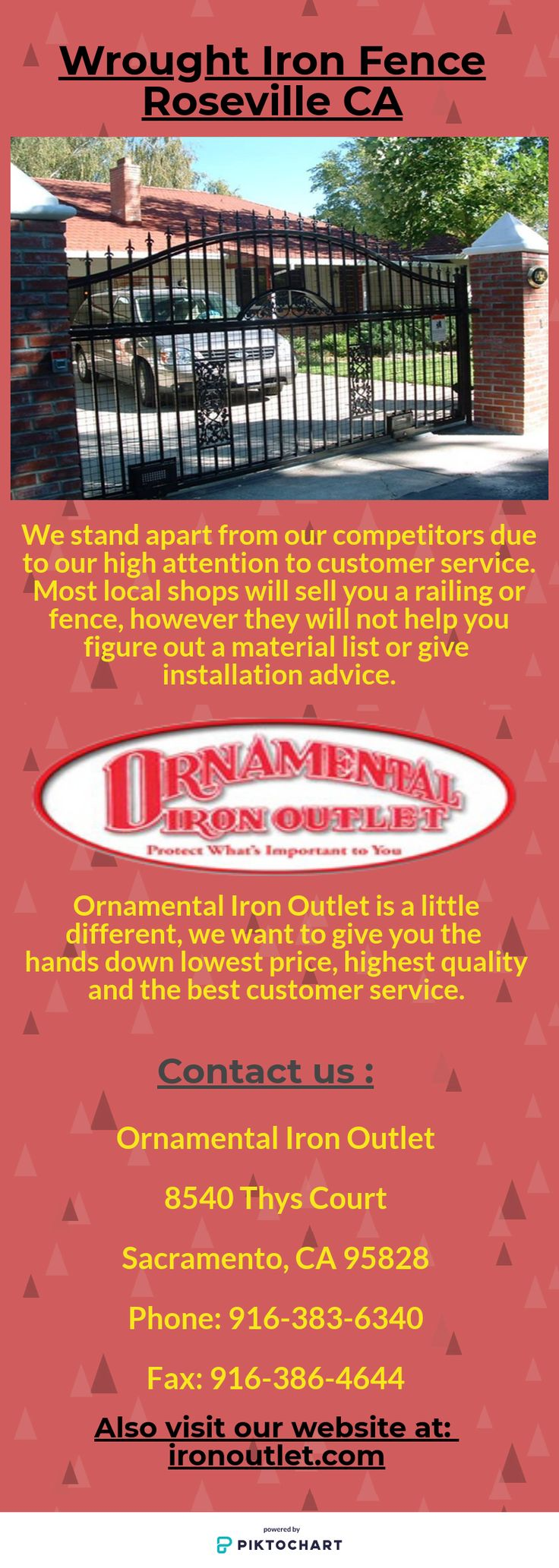 Looking for the best Wrought Iron Fence in Roseville CA? We at Ornamental Iron Outlet provide you the different varieties of designer fences and other iron products.