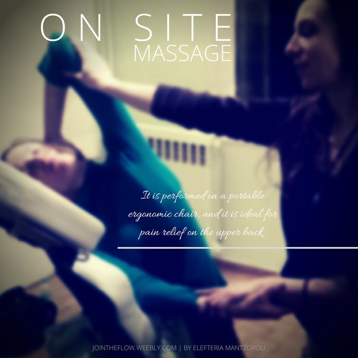 On Site, or Chair Massage: It is performed on a portable ergonomic chair, and it is ideal for pain relief on the upper back.