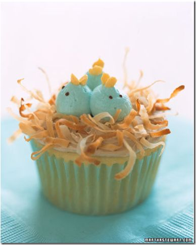 easter/baby shower - baby birds in a nest: Flowers Cupcakes, Bluebirds, Spring Cupcakes, Idea, Birds Nests, Martha Stewart, Easter Cupcakes, Cupcakes Rosa-Choqu, Baby Shower