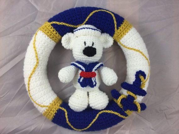 Nautische krans met anker en teddybeer gekleed in een patroon gehaakte sailor suit - amigurumi tutorial - strand Decor - nautische kwekerij