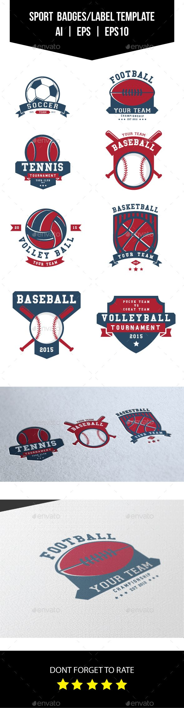 Sport Badges and Label / Logo Vector Template EPS, AI #design Download: http://graphicriver.net/item/sport-badges-and-labellogo-template/13377535?ref=ksioks