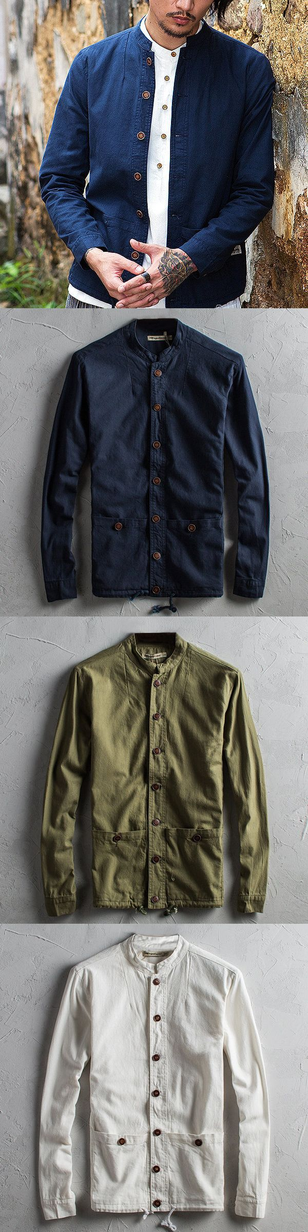 Nike jacket chinese - Vintage Chinese Style Cotton Linen Long Sleeve Slim Fit Stand Collar Jackets For Men