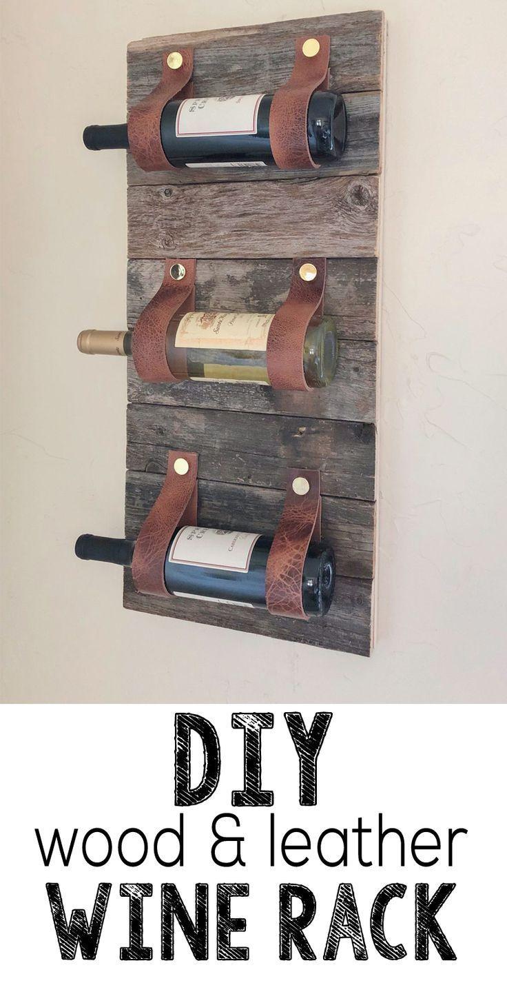 DIY Holz und Leder Weinregal #leder #weinregal,
